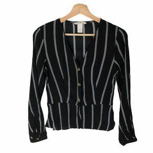 H&M Black Gray Stripes Peplum Shirt Size 4 or S